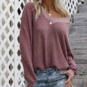 Karlee V Neck One Shoulder Waffle Knit Sweater